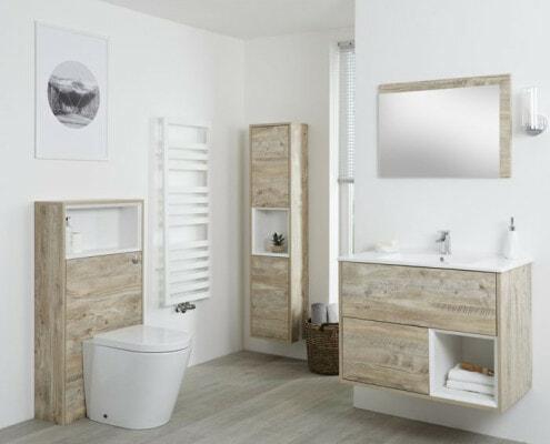 Conjunto de Baño con Diseño Abierto de Color Roble Claro Completo con Mueble Para Lavabo.