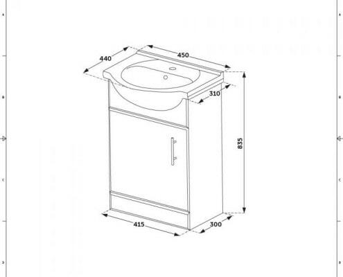 Dimensiones de un Mueble de Baño con Lavabo integrado.